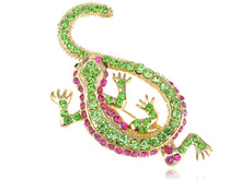 Load image into Gallery viewer, Peridot Fuchsia Pink Lizard Gecko Reptile Pin Brooch