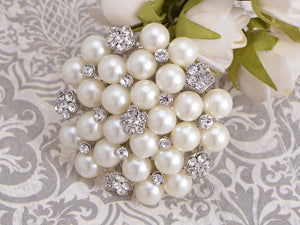 Big Pearl Flower Wedding Bouquet Slive Brooches