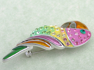 Beaked Parakeet Budgie Colorful Tropical Pin Brooch
