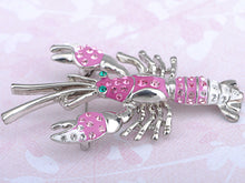 Load image into Gallery viewer, Rose Enamel Live Lobster Brooch