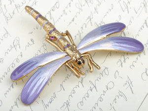 Tiny Dragonfly Lavender Gradient Enamel Pin Brooch