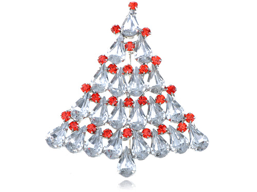 Alilang Dazzling Clear Crystal Rhinestone Holiday Christmas Tree Snow Fashion Pin Brooch