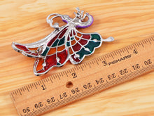 Load image into Gallery viewer, Abalone Colored Dark Butterfly Insect Wings Brooch Pin