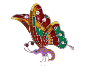 Abalone Colored Dark Butterfly Insect Wings Brooch Pin