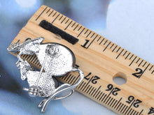 Load image into Gallery viewer, Mice Family Czech Black Enamel Body Pin Brooch