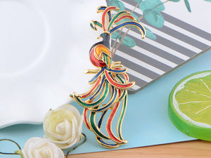 Brilliant Enamel Color Bright Green Red Paradise Bird Jewelry Pin Brooch