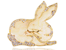 Load image into Gallery viewer, Gold Blush Rabbit Bunny Hare Brooch Pin