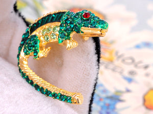 Green Enamel Body Crocodile Alligator Pin Brooch