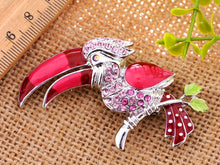 Load image into Gallery viewer, Rose Pink Hornbill Bird Tropical Pin Jewelry Brooch