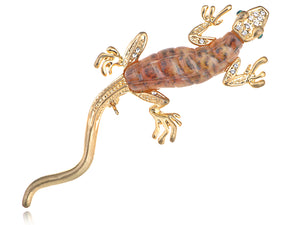 Fun Crawl Gecko Acry Bodied Critter Pin Brooch