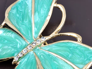 Green Gem Butterfly Pin Brooch