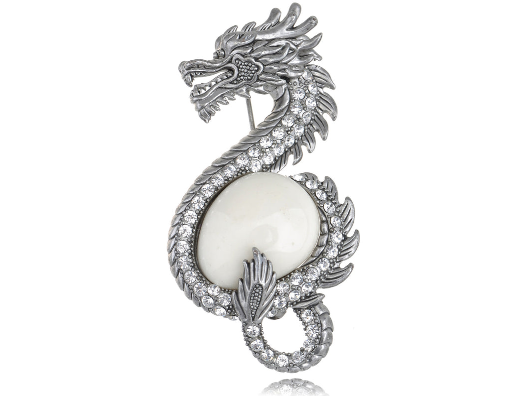 Antique Frosted Zodiac Chinese Dragon Brooch Pin