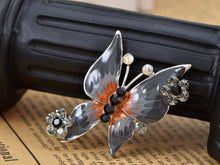 Load image into Gallery viewer, Jet Black Enamel Body Studded Outline Butterfly Brooch Pin