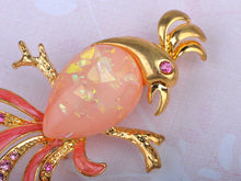 Load image into Gallery viewer, Lovely Rose Pink Studded Tropical Parrot Bird Pin Brooch