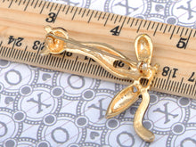 Load image into Gallery viewer, Gold Topaz Colored Skinny Thin Lion Cat Kitty Brooch Pin