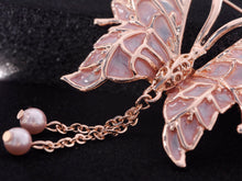 Load image into Gallery viewer, Dangling Pearl Peach Enamel Lined Butterfly Pin Brooch