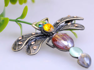 Vintage Reproduct Acry Beaded Color Dragonfly Able Pin Brooch