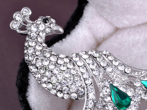 Silver Shine Green Peacock Bird Brooch Pin