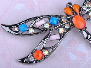 Gun Orange Pink Colored Dragonfly Insect Brooch Pin