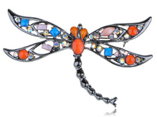 Load image into Gallery viewer, Gun Orange Pink Colored Dragonfly Insect Brooch Pin