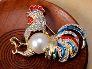 Gold Pearl Rooster Chicken Brooch Pin