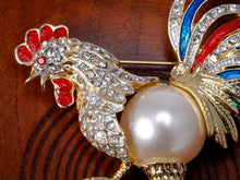Load image into Gallery viewer, Gold Pearl Rooster Chicken Brooch Pin