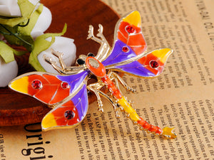 Siam Flying Dragonfly Color Enamel Bug Brooch Pin
