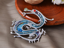 Load image into Gallery viewer, Antique Ruby Beads Blue Enamel Dragon Monster Brooch Pin