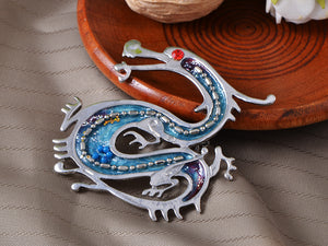 Antique Ruby Beads Blue Enamel Dragon Monster Brooch Pin