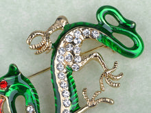Load image into Gallery viewer, Green Fire Zodiac Dragon Brooch Pin