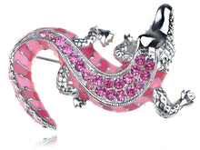 Load image into Gallery viewer, Hot Bright Pink Fuchsia Crawling Alligator Crocodile Reptile Body Brooch Pin