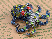Load image into Gallery viewer, Nickel Multicolored Octopus Sea Monster Brooch Pin