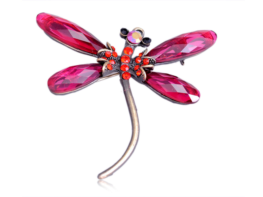 Craft Ruby Red Light Siam Jewel Dragonfly Tiny Brooch Pin Pendant