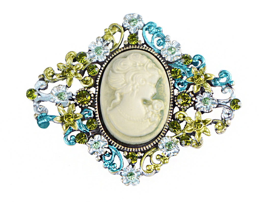 Diamond Shape Cameo Able Antique Brooch Pin