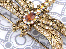 Load image into Gallery viewer, Light Topaz Dragonfly Insect Brooch Pin