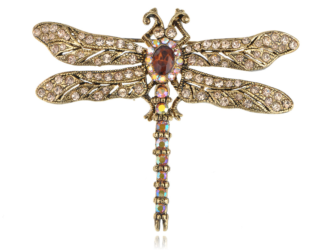Light Topaz Dragonfly Insect Brooch Pin
