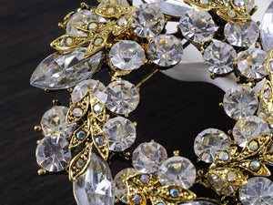 Diamond Floral Wreath Holiday Christmas Old Brooch Pin