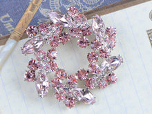 Load image into Gallery viewer, Diamond Floral Wreath Holiday Christmas Old Brooch Pin