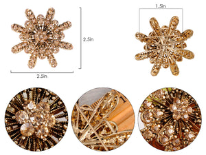 Gerber Daisy Snowflake Holiday Festive White Diamond Like Flower Brooch Pin