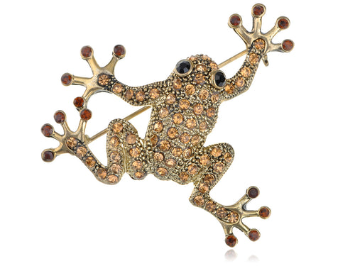Topaz Colored Frog Toad Brooch Pin