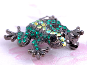 Emerald Green Prince Charmed Happy Frog Able Brooch Pin