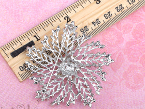 Dandelion Flower Floral Snowflake Abstract Brooch Pin