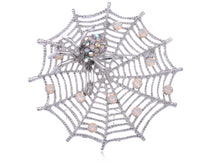 Load image into Gallery viewer, White Iridescent Halloween Spider Web Brooch Pin