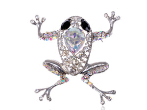 Precious Princess Black Leaping Frog Pet Brooch Pin
