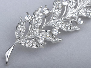 Feather Leaf Sliver Holiday Pin Brooch
