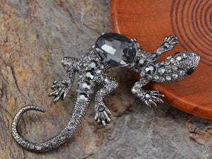 Polish Gun Gecko Pet Lizard Smokey Pin Brooch