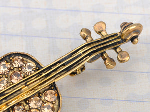 Violin Brooch Pin Enamel Bow Cello Fiddle Music Instrument