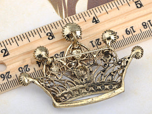 Antique Shine Smoker Topaz Princess Queen King Crown Brooch Pin Pendent