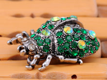 Load image into Gallery viewer, Antique Emerald Colored Ladybug Beetle Insect Brooch Pin