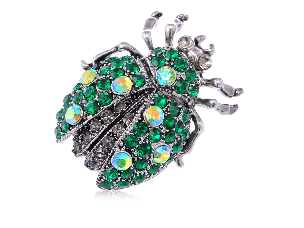 Antique Emerald Colored Ladybug Beetle Insect Brooch Pin